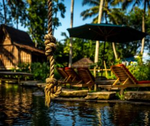 the natural swimming pool at Bambu Indah