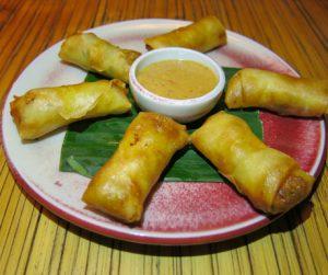 Lightly fried vegetable spring rolls at Bambu Indah