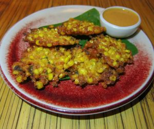 asty sweetcorn fritters at Bambu Indah