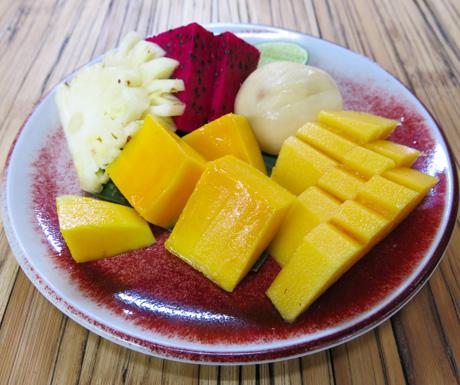 Fruit plate to start our breakfast at Bambu Indah