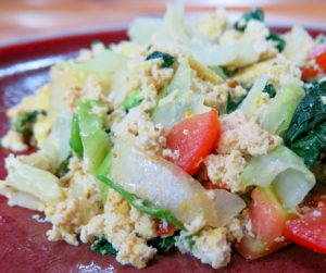 Scrambled tofu with vegetables at Bambu Indah