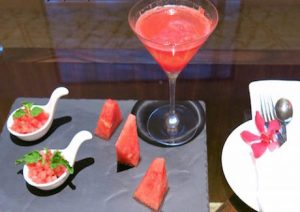 cocktails and vegan canapes in the executive lounge at DoubleTree Johor Bahru