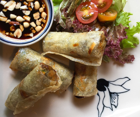 spring rolls packed with rich and flavourful mushrooms at Emeralda Resort Ninh Binh