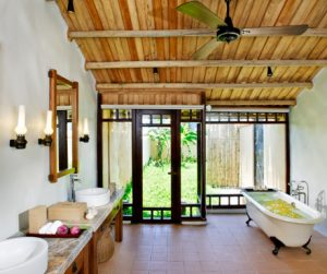 free standing bath tub and outdoor shower at Emeralda Resort Ninh Binh