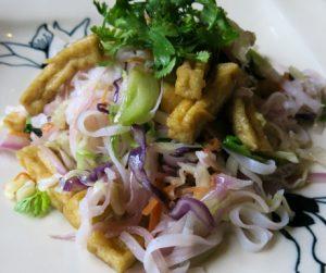 Rice noodles with tofu and vegetables at Emeralda Resort Ninh Binh