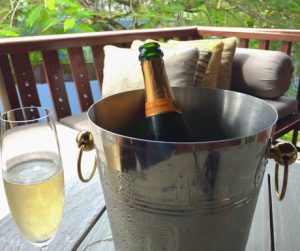 champagne on the balcony at Four Seasons Langkawi