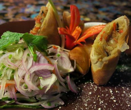 vegan fried spring rolls at Four Seasons Langkawi