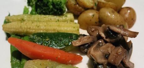 roast potatoes and vegetables at Hilton Bandung