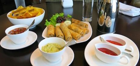 fried spring rolls and vegan snacks at Hilton Bandung