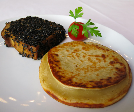 vegan panckaes for breakfastat Hotel at Infante Sagres