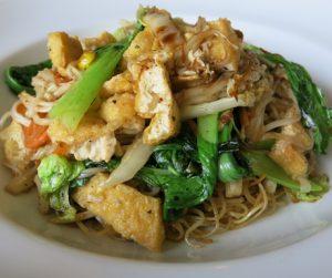 vegan rice noodles, tofu and vegetables at InterContinental Hanoi Westlake