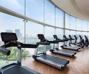 Gym with a view at JW Marriott Hotel Hanoi