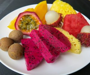 Colourful and vibrant tropical fruit plate