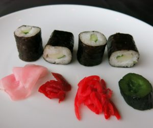 egan sushi rolls with assorted pickles