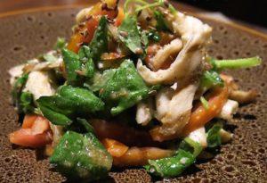 chargrilled mushrooms and salad leaves at Mesa Stila