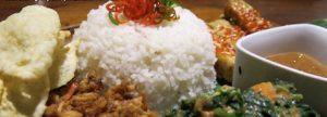 nasi campur with tempeh and tofu becam at Mesa Stila