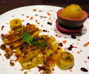 resh Banana Brulee with Mango Passion Sorbet