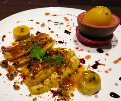 resh Banana Brulee with Mango Passion Sorbet