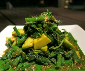 spinach, long beans and avocado salad at Puri Ganesha