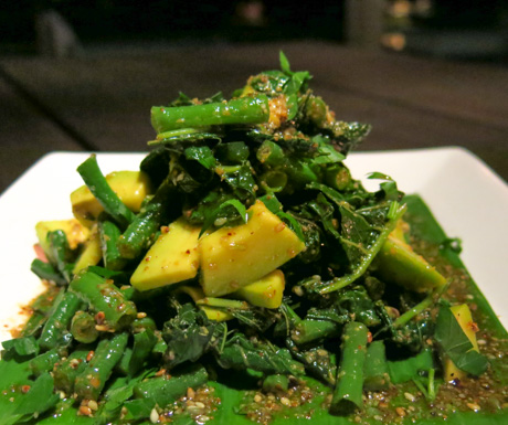 spinach, long beans and avocado salad at Puri Ganesha