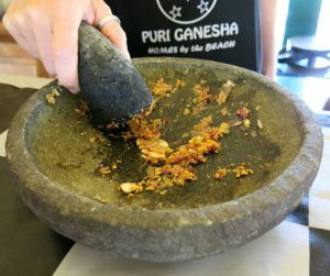Making our own spice pastes at Puri Ganesha