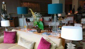 luxurious lobby at Shangri-La Jakarta