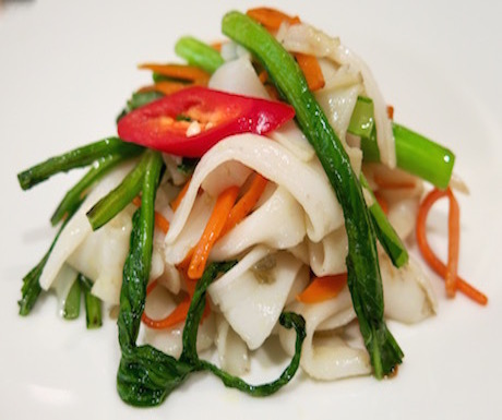 Delicious flat rice noodles with vegetables at Sheraton Saigon Hotel and Towers