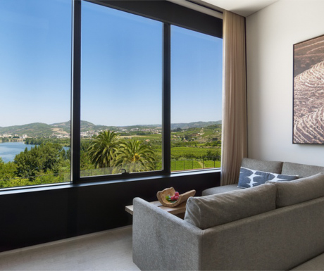 beautiful view from a luxurious 'Quinta River' room at Six Senses Douro Valley