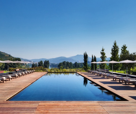 swimming pool with incredible view at modern and stylish reception at Six Senses Douro Valley