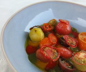 delicious vegan dish of tomatoes, peppers and onions at Six Senses Douro Valley