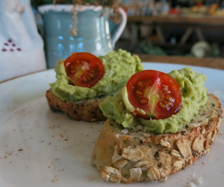 fresh avocado on home made bread at Six Senses Douro Valley