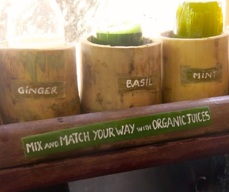fresh juice selection at private infinity pool with sublime view at Six Senses Ninh Van Bay