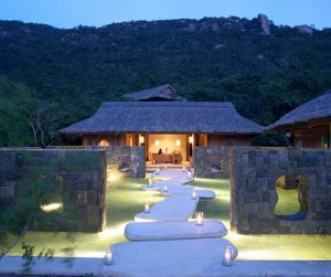 entrance to the Six Senses Spa at private infinity pool with sublime view at Six Senses Ninh Van Bay