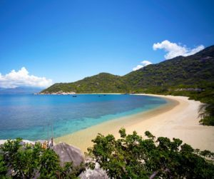 the beach at Six Senses Ninh Van Bay