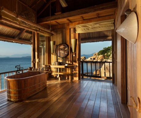 beautiful bathroom in a Rock Villa at Six Senses Ninh Van Bay