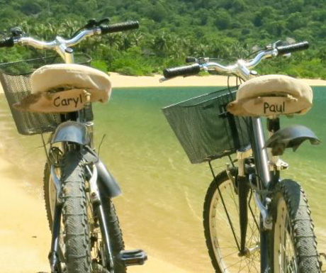 personalised bikes at private infinity pool with sublime view at Six Senses Ninh Van Bay