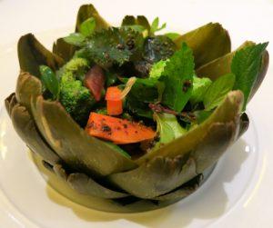 Dalat artichoke stuffed with vegetables, fresh herbs and a truffle dressing