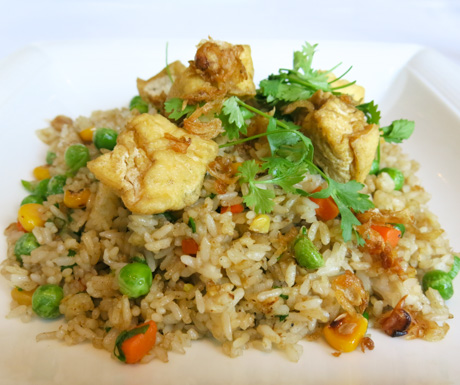 vegan stir fried rice with tofu and vegetables for breakfast at Sofitel Legend Metropole Hanoi