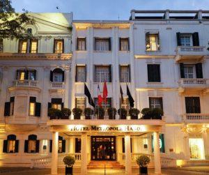 Sofitel Legend Metropole Hanoi facade at night