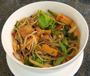 vegan noodles and vegatbles for breakfast at The Nam Hai