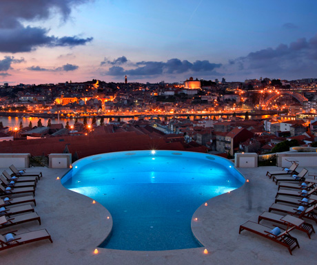 view of the swimming pool at The Yeatman by night