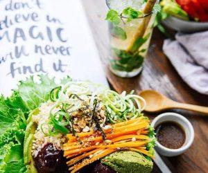vegan beet bowl at Backyard Cafe Phnom Penh