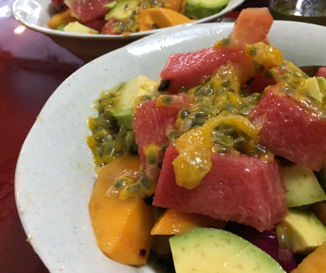 Immense fruit salad with avocado at Cafe Thom in Hanoi