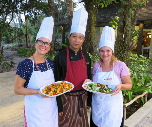 vegan food preapred with the chef vegan ingredients for our cooking class at Centara Resort Trat