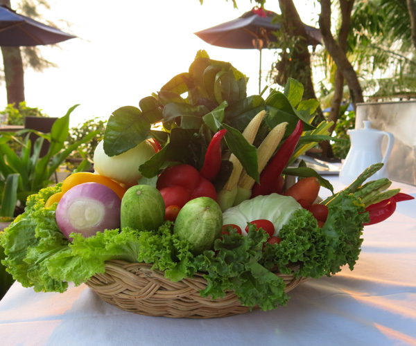 vegetables ready for our vegan cooking class at Centara Resort Trat