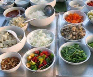 vegan ingredients for our cooking class at Centara Resort Trat
