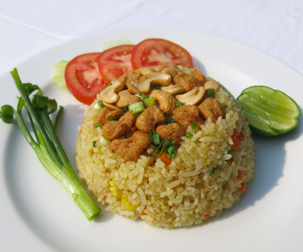 vegan fried rice with cashews at Centara Resort Trat