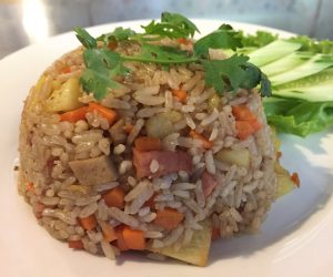 vegan pineapple fried rice at Evergreen in Phnom Penh