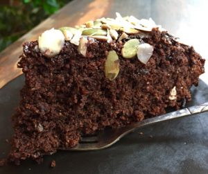 Vegan chocolate cake at Jalus in Hanoi