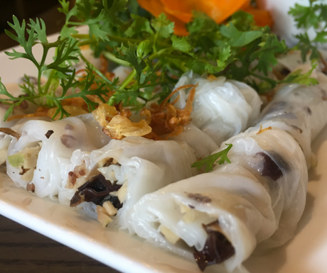 vegan steamed rice pancake rolls at Minh Chay in Hanoi